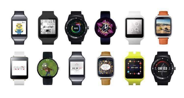 Screenshot degli smartwatch Android Wear esposti sul sito ufficiale Android