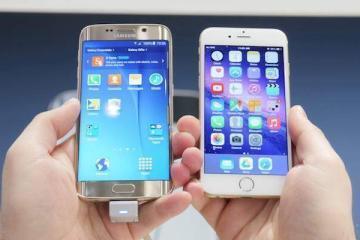 Foto che mostra il Samsung Galaxy S6 EDGE e l'iPhone 6 a confronto