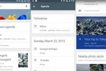 Screenshot che mostr ale nuove schede Agenda e Viaggi di Google Now