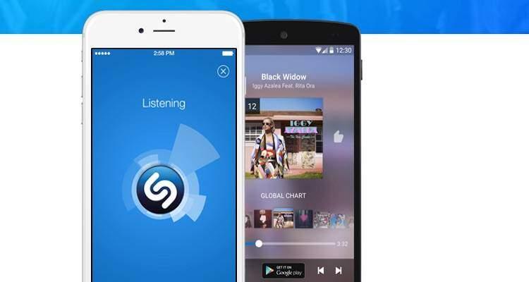 Screenshot del sito web di Shazam che mostra il funzionamento dell'app su smartphone