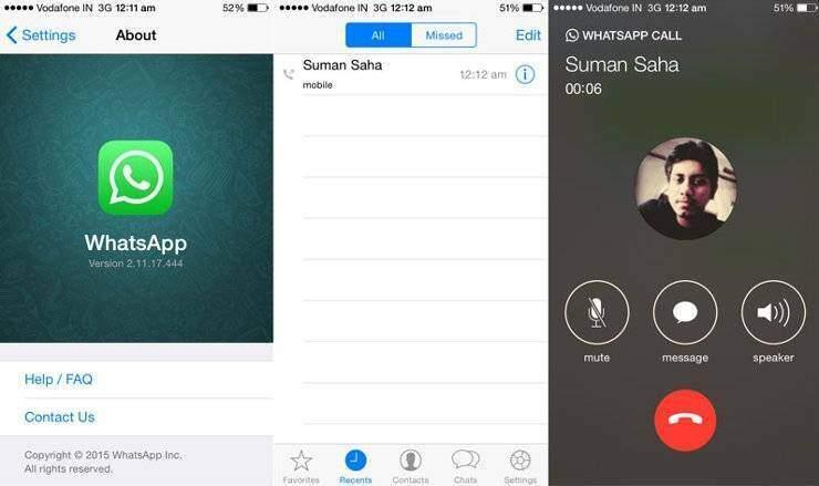 Chiamate Whatsapp: prime immagini dei test su iPhone di Apple!