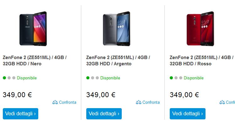 ASUS Zenfone 2 da urlo: 4GB di RAM e 32GB di spazio a 349€!