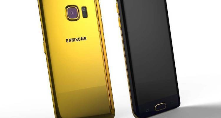 Immagine che mostra la back cover placcata in oro 24 carati di Goldgenie per il Samsung Galaxy S6