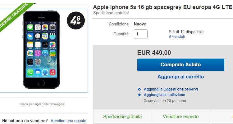 Immagine iPhone 5s Ebay