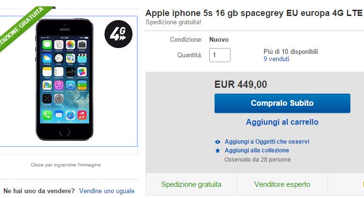 Apple iPhone 5S da 16GB in super offerta su eBay