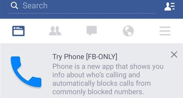 Screenshot della notifica della disponibilità di Facebook Phone su Android