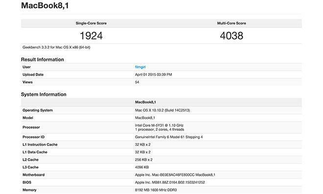 """Immagine che mostra i benchmark del nuovo MacBook da 12"""" effettuati con Geekbench"""
