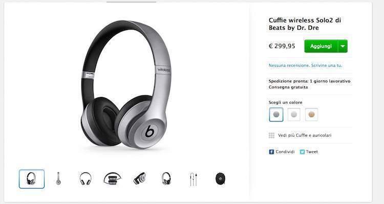 Screenshot dell'Apple Store Online della pagina dedicata alle cuffie Beat solo2 nei nuovi colori