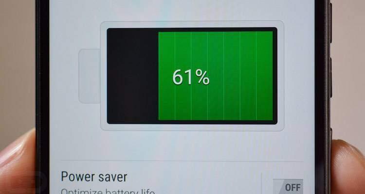 Foto che mostra l'utilizzo della batteria su un dispositivo Android