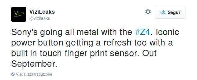 Sony Xperia Z4: corpo in metallo e lettore di impronte?
