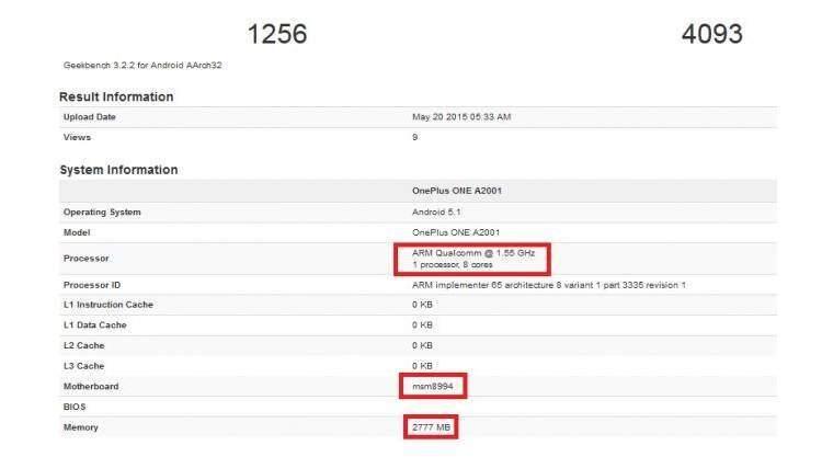OnePlus: spunta un device con Snapdragon 810 e 3GB di RAM