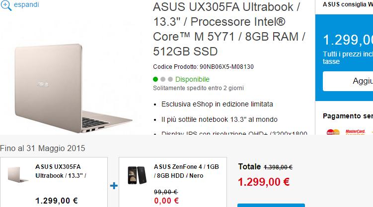 ASUS: compri uno Zenbook UX305? Lo Zenfone 4 è in regalo!