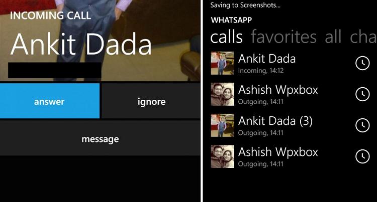 WhatsApp per Windows Phone testa le chiamate: i primi screenshot