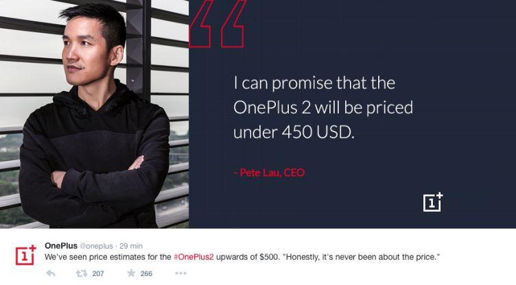 OnePlus 2, prezzo inferiore ai 450$. Parola di Pete Lau
