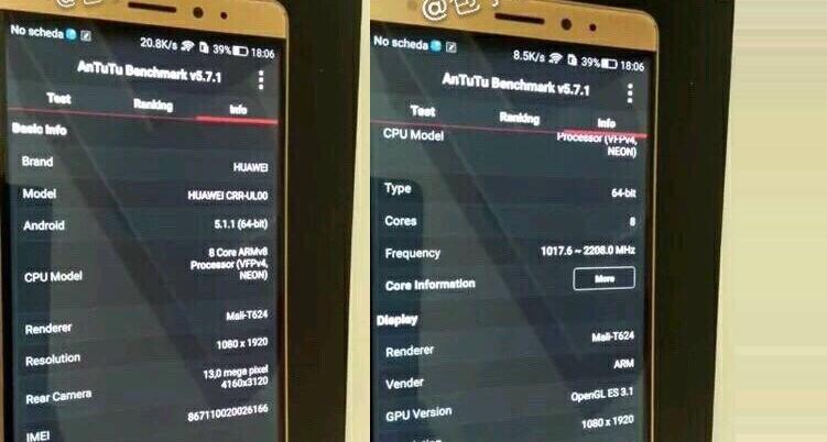 Huawei: emergono informazioni su un presunto Mate 7 Mini