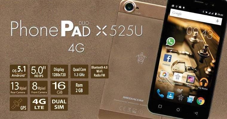 Mediacom PhonePad Duo X525U: nuovo smartphone Android top di gamma!