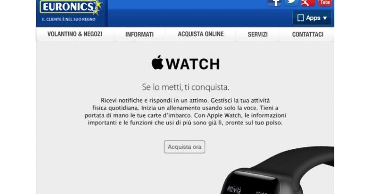 Apple Watch ha preso il via: in vendita anche da Euronics
