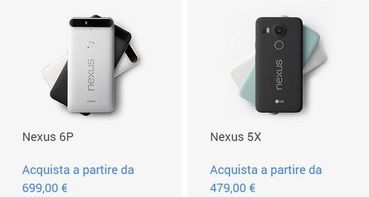 Google Nexus 6P e Nexus 5X: prezzi e disponibilità per l'Italia