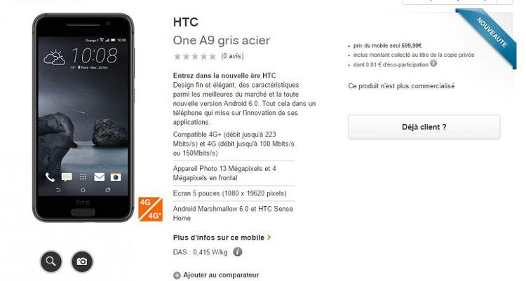 HTC One A9, ulteriori conferme sul prezzo a 599€