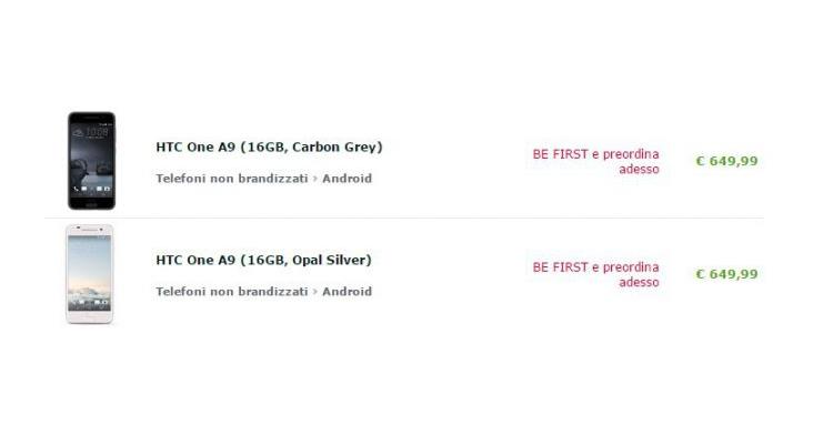 HTC One A9, prezzo più caro: il listino italiano sale a 649.99€