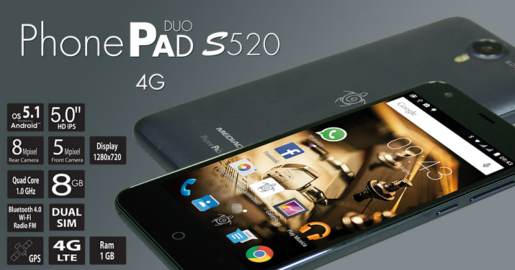 Mediacom svela PhonePad Duo S520 4G: specifiche e prezzo