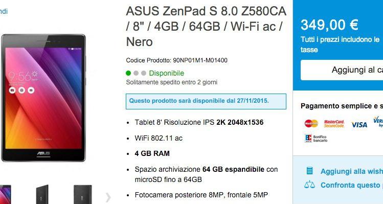 ASUS introduce in Italia lo ZenPad S 8.0 con 4GB di RAM
