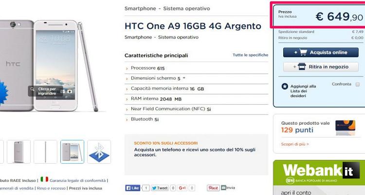 HTC One A9 arriva in Italia: 649.90€ da Unieuro