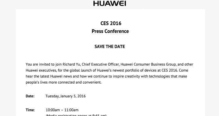 Huawei si prepara al CES 2016: evento fissato per il 5 Gennaio