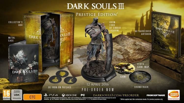 Dark Souls 3 Collector Edition Prestige data di uscita