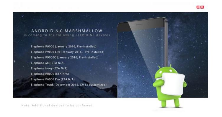 Elephone svela i piani di aggiornamento ad Android 6.0