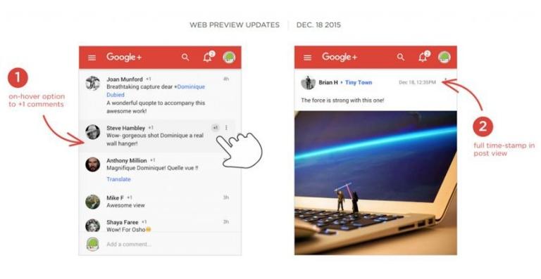 Google+ Web prossimo al rinnovo: tre novità in arrivo
