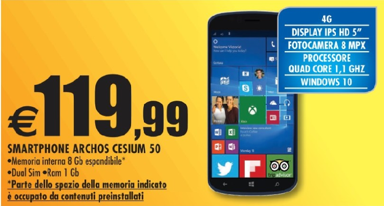 Archos Cesium 50 con Windows 10 Mobile approda in Italia