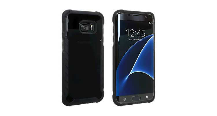 samsung galaxy s7 edge clear semi-opaque flip view custodia nero
