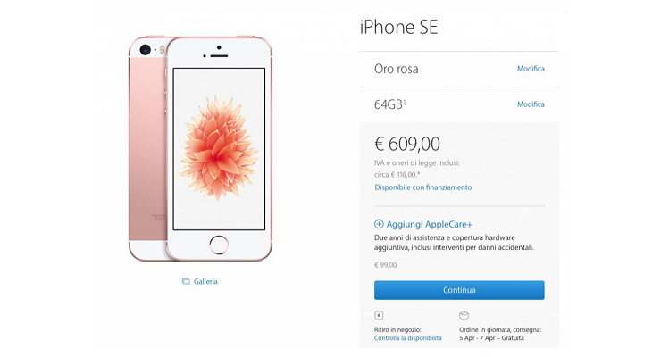 Apple, iPhone SE e iPad Pro da 9.7″ arrivano anche in Italia