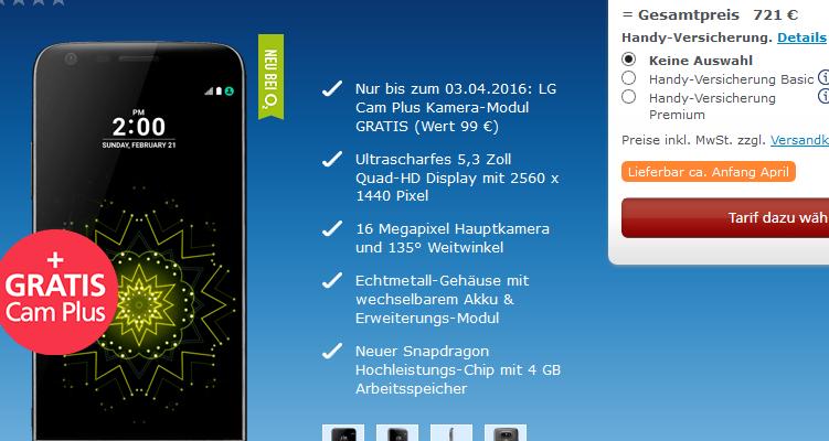 LG G5 e Cam Plus, forse questi i prezzi previsti per l'Europa