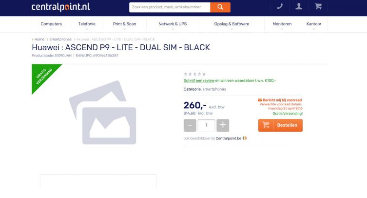 Huawei P9 Lite su un e-commerce olandese: prezzo a 315€