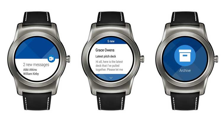 Outlook riceve il supporto Android Wear per smartwatch