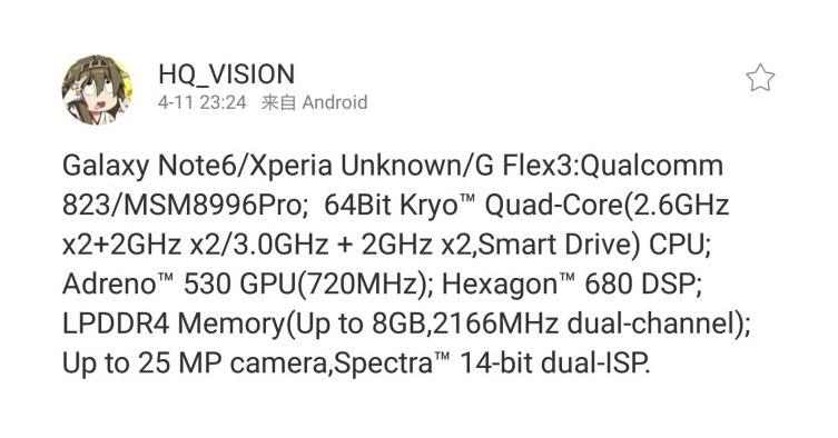 Samsung Galaxy Note 6 avrà lo Snapdragon 823 di Qualcomm?