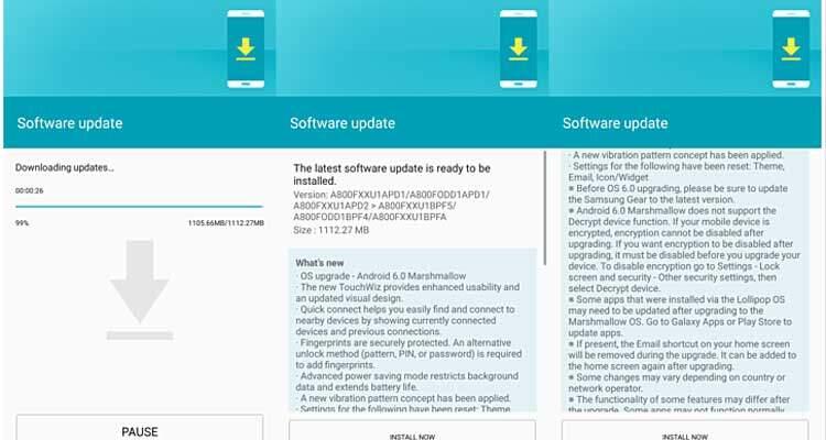 Samsung Galaxy A8 si aggiorna ad Android 6.0 Marshmallow