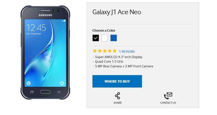 Samsung Galaxy J1 Ace Neo: nuovo entry level ufficiale