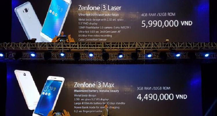 ASUS Zenfone 3 Laser e Zenfone 3 Max ufficiali in Vietnam