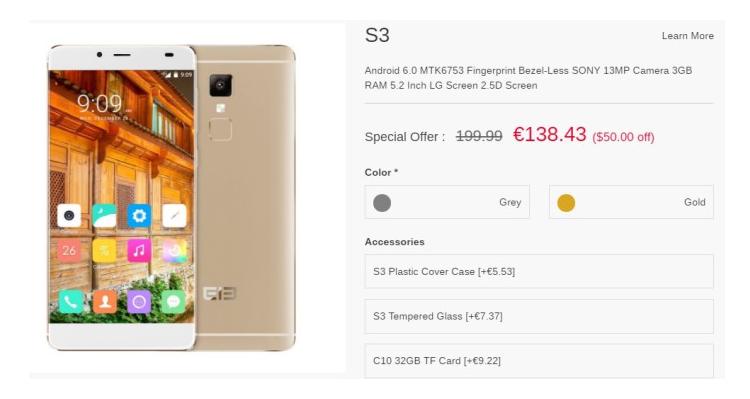 Elephone S3 in offerta speciale: solo 138€ sullo store ufficiale!