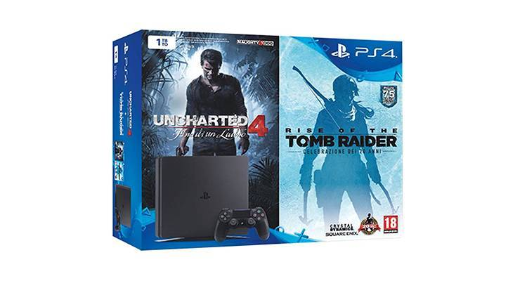 PlayStation 4 Slim con Uncharted 4 e Rise of the Tomb Raider per Amazon Gaming Week