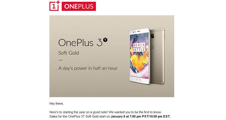 OnePlus 3T Soft Gold in arrivo: disponibilità da domani!