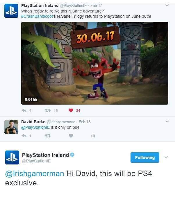Crash esclusiva PS4
