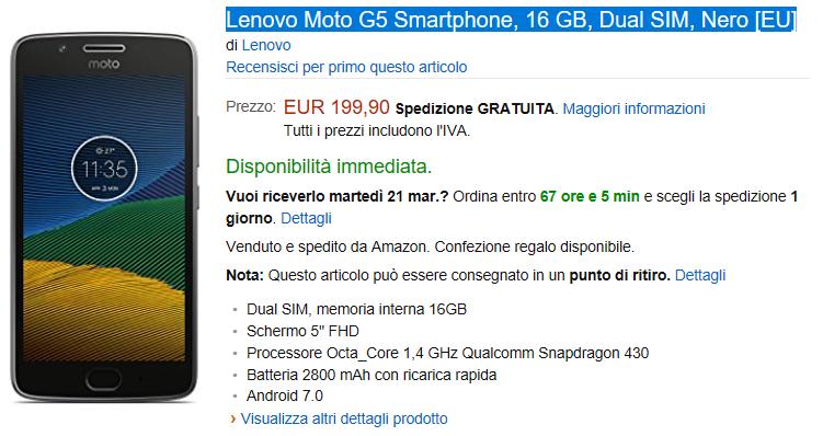 Lenovo Moto G5 arriva su Amazon Italia a 199.90€