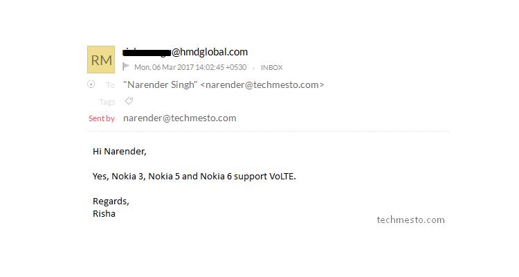 Nokia 3, Nokia 5 e Nokia 6 sono compatibili con la tecnologia VoLTE