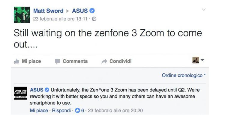 ASUS Zenfone 3 Zoom, i tempi si allungano: esordio nel Q2 2017