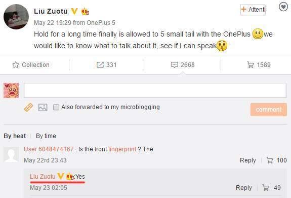 OnePlus 5 con Snapdragon 835 e lettore per le impronte