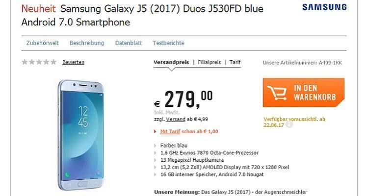 Samsung Galaxy J5 (2017), c'è la data dell'arrivo in Europa: 22 giugno, a 279 euro